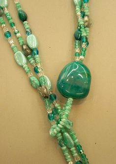 Aqua Lariat necklace tutorial using Bead Soup, from the Creative Goddess