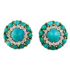 DAVID WEBB Diamond Turquoise Platinum Gold Earrings | From a unique collection of vintage clip-on earrings at https://www.1stdibs.com/jewelry/earrings/clip-on-earrings/