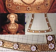 WIP Anne of Cleves billiments Recreated by #Anne_de_Pisseleu_d_Heilly.  German Tudor Renaissance gold leather paint, rub-n-buff, leather, brass filigree stampings, soutache braid, gold beads, acrylic pearl flowers