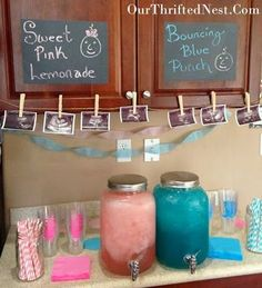 Gender Reveal Party: Blue Punch and Pink Lemonade Drink Station and Decorations Stealing a bunch of these ideas for next time!