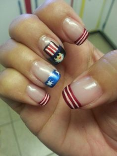 Uncle Sam, 4th of July, red white and blue nail art