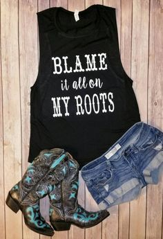 Blame it all on My Roots - Flowy Scoop Muscle Shirt 353adaf784a0