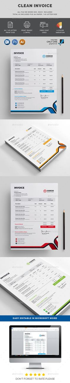 Creative Invoice Template Instant Download - Receipt Template - print invoice