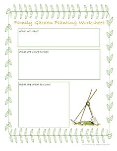 Letting Kids Be Involved in Every Step of Gardening FREE Family Garden Planting Worksheet.Letting Kids be part of EVERYTHING in the garden process. Via Walking in High Cotton Home Vegetable Garden, Family Garden, Wild Edibles, Old Fashioned Recipes, Garden Crafts, Quality Time, Garden Planning, Worksheets, About Me Blog