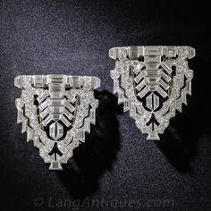 Art Deco Platinum and Diamond Clips and Brooch