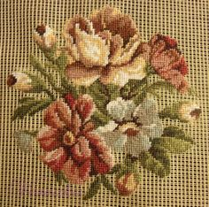 Indian Embroidery, Hand Embroidery, Cross Stitch Embroidery, Cross Stitch Patterns, Tapestry Crochet Patterns, Flower Painting Canvas, Needlepoint Canvases, Cross Stitch Flowers, Needlework