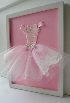 Pink Princess Dress Wall Art. Girls Nursery Decor. by FlorasShop