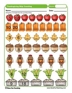 Thanksgiving Skip Counting Worksheet Skip Counting Activities, Counting Coins, First Grade Activities, Teaching First Grade, Kindergarten Activities, Counting Worksheet, Preschool, Thanksgiving Worksheets, Rules For Kids