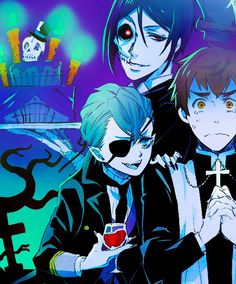 Black Butler / Kuroshitsuji Halloween (Arthur as a (frightened) priest, Ciel as a vampire, and Sebastian as a Terminator...or demon...which he already is.)