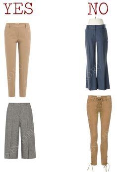 Современные базовые брюки. Слева – подходят, справа – не подходят