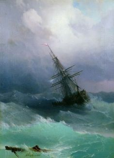 "My life has been like a ship at sea with calm waters and stormy weather. *Painting - ""Stormy Sea"" by Ivan Aivazovsky Stormy Sea, Stormy Waters, Calm Waters, Fine Art, Tall Ships, Oeuvre D'art, Sailing Ships, Amazing Art, Cool Art"