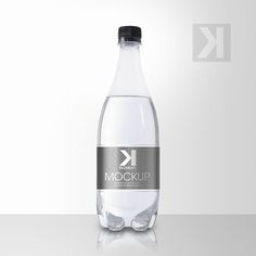 Packreate » Beverage Clear Plastic Bottle PSD Mockup