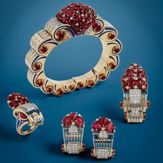 ART DECO, STARR FROST NY circa 1935 parure with diamonds and rubies set in gold, purity unknown.