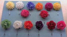 """1.5"""" Carnation Flower Pin - available in Pale Yellow, White, Light Cobalt Blue, Orange, Violet, Bright Yellow, Fuchsia and Red. $8 each 1.5"""" Silk Flower Bud pin - available in Grass Green, White, Orange, Purple, Red and Fuchsia. $8 each **MN residents pay sales tax **Out of State residents pay shipping Bright Yellow, Blue Orange, Purple, Sales Tax, Carnations, Green Grass, White Light, Silk Flowers, Cobalt Blue"""