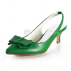 WOMEN'S ADORABLE GREEN KITTEN HEEL SHOES WITH BOW ON FRONT- PEEP ...