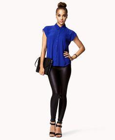 Zip Shoulder Georgette Shirt   FOREVER21 - 2056909370