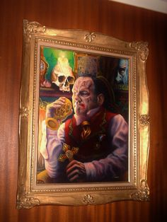Ian Ward ''Monsieur COTEREAU le tueur de vampire courageux'' Oil and Acrylic on canvas 18''x24'' 2012 with antique 19th Framed