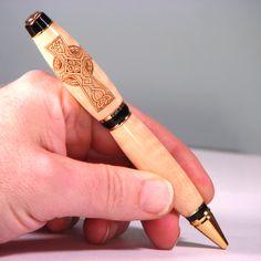 Celtic Cross laser engraved hand made wooden pen. Handmade from hickory wood.