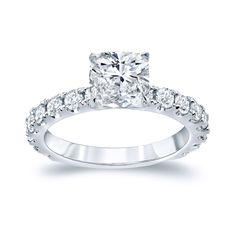 Auriya 14k Gold 2 1/2ct TDW Certified Cushion Cut Diamond Engagement Ring (H-I, VSI-VS2) (Rose Gold - Size 6.5), Women's, Pink