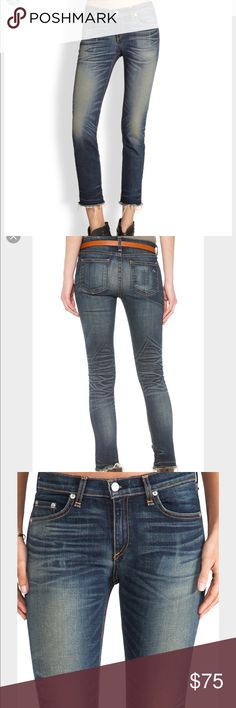 Rag and Bone Skinny with frayed hem Like new rag and bone skinny jeans with frayed hem,  in the color Alderely. Crop jean. I'm usually size 25 and these fit. rag & bone Jeans Ankle & Cropped