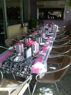 Black White Wrapping Paper, Pink Plastic Runner, Square Vases, Pink White  Flowers All From The Dollar Tree. Boxes Order From Etsy. White Table Cloth  ...
