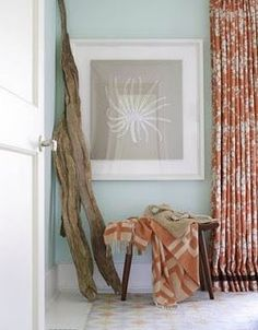 How to Use a Long Drift Wood Branch as Home Decor - Coastal Decor Ideas Interior Design DIY Shopping House Of Turquoise, Orange Et Turquoise, Blue Orange, Orange Color, Orange Beach, Light Turquoise, Coral Blue, Burnt Orange, Blue Green