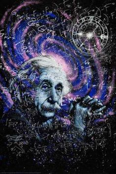 Einstein Theory Poster by: Stephen Fishwick Inches - Math Albert Einstein Poster, Arte Assassins Creed, Cool Illusions, Renaissance Era, Funny Illustration, Icon Collection, Arte Pop, In Ancient Times, Cool Posters