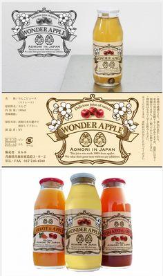 青森の誇りを絞ったジュース「WONDER APPLE」More #Japanese #juice #packaging PD