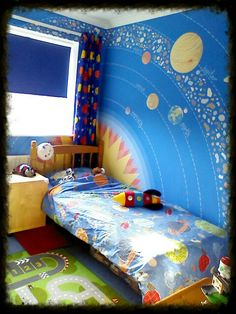 My Older Sons Finished Space Bedroom With Bespoke Wall Mural Of The Solar System Really