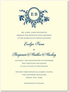 Traditional Style - Letterpress Wedding Invitations - Sarah Hawkins Designs - LP Indigo - Blue : Front