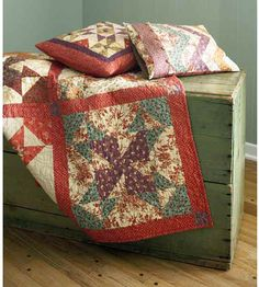 Star-Pattern Quilt-Country-style pinwheels create this cozy quilted throw. Subdued quilting fabrics turn this quilt into a perfect fall accent
