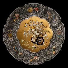 A superb pair of Meiji period shibayama and silver filigree dishes (Japan)
