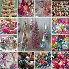 Vintage christmas decorations and ornaments! Love these highly collectible Shine Brute Vintage glass ornaments, tree toppers and bottle brush trees! Antique Christmas, Christmas Past, Vintage Christmas Ornaments, Retro Christmas, Vintage Holiday, Winter Christmas, Holiday Fun, Christmas Bulbs, Christmas Crafts