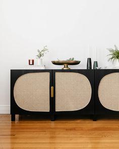DIY IKEA Hacks Storage Woven Cane Storage Media Unit Living Room