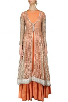 Abhinav Mishra Orange Anarkali with Silver Embellished Jacket #happyshopping #shopnow #ppus