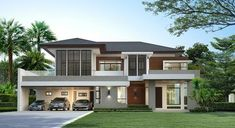 photo by House_Dsgn House Layout Plans, House Layouts, Bungalow House Design, Modern House Design, Modern Filipino House, Woodland House, Beautiful House Plans, Model House Plan, Dream House Exterior