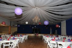 This is what the reception hall looks like...minus the weird colored balls