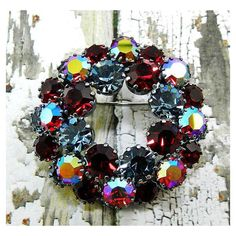 "AUSTRIA Rhinestone Brooch Signed Siam Red Denim Blue Silver Metal 2""... ($35) ❤ liked on Polyvore featuring jewelry and brooches"