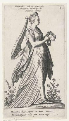 Mnemosyne, de moeder der Muzen, Johann Theodor de Bry, anoniem, c. 1581 - c. 1623