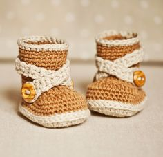 Baby Booties Crochet PATTERN (pdf file) - Criss Cross Strap Boots. Today only special price $3.50 for an Instant download; by monpetitviolon