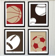 Sport Poster Set - Soccer, Football, Baseball,  Basketball Personalized Poster Set - Boys Room Decor - 5 x 7 set of 4. $40.00, via Etsy.