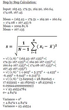 Pin By Math Examples On Standard Deviation Example Calculations