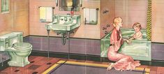 The Evolution of Colored Bathroom Fixtures - Old House Restoration, Products & Decorating Mauve Bathroom, 1930s Bathroom, Pastel Bathroom, Art Deco Bathroom, Vintage Bathrooms, Bathroom Kids, Downstairs Bathroom, Bathroom Colors, Tiled Bathrooms