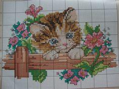 Kitten with Azalea 3 of 3 Cross Stitch Needles, Cross Stitch Bird, Beaded Cross Stitch, Cross Stitch Animals, Cross Stitch Charts, Cross Stitch Designs, Cross Stitching, Cross Stitch Embroidery, Embroidery Patterns