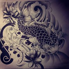Japanese Koi Fish tattoo 2 by *dirtfinger on deviantART i have all ways had a passion for tattoo design and love koi fish. The use of a single colour makes it stand out very effectively.