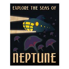 Retro Neptune Travel Poster on bezar.com