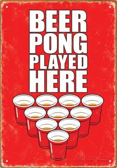 Beer Pong Played Here Tin Sign Tin Sign at AllPosters.com