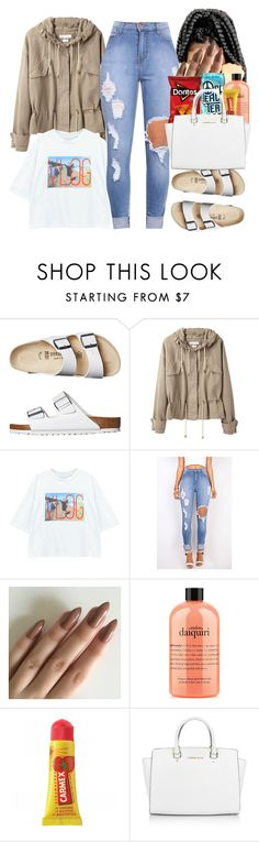 """""""Don't fall in love, fall in line."""" by thats-so-me ❤ liked on Polyvore featuring Birkenstock, Étoile Isabel Marant, Chicnova Fashion, philosophy, Carmex and Michael Kors"""
