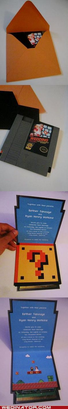 8-Bit Wedding Invitation....would be cute for a kids birthday invitation
