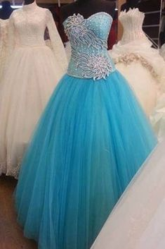 Sky blue tulle sweetheart applique A-line long ball gown dress, formal dresses Formal Evening Dresses, Evening Gowns, Dress Formal, Ball Gown Dresses, Prom Gowns, Cute Prom Dresses, Satin Color, Dress Making, Designer Dresses